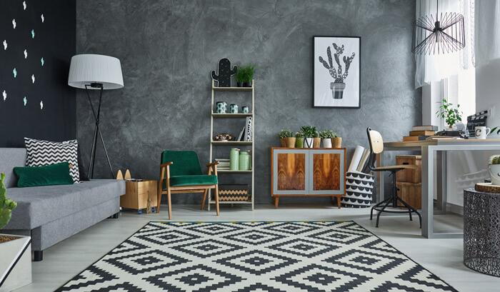 sala de estar com decoração completa
