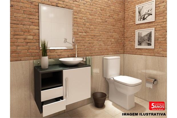 Gabinete Sol para Banheiro com Cuba em Resina E Espelho 50×60 Bisotado  VTEC # Cuba Para Banheiro Em Formato Ovalado