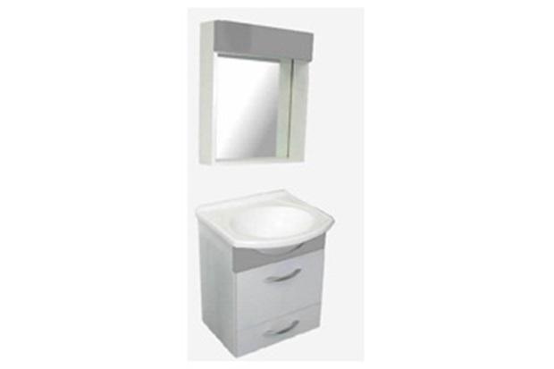 Armário para Banheiro E Toucador Conjunto Belle BrancoCinza  Bonatto  C&C -> Armario De Banheiro Cec