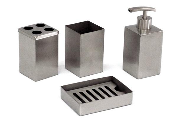 Kit Banheiro Inox Meber : Acess?rio metais e acess?rios c casa constru??o