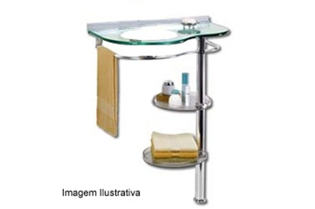 Lavatório CrisGlass Topázio 70x45cm Ref 981  Cris Metal  C&C -> Pia De Vidro Para Banheiro Cris Metal