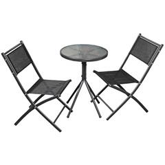 Mesa de Vidro com Duas Cadeiras Cinza - Bella Casa