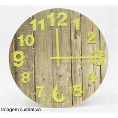 Relógio Parede Grão Madeira Verde 30cm   - Importado