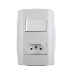 1 Interruptor Simples 10a 250v 1 Tomada  20a Slim - ILUMI