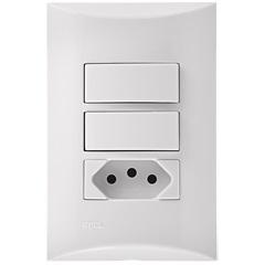 2 Interruptores Simples + 1 Tomada 10a 4x2 Brava Branco - Iriel