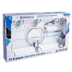 Acessórios para Banheiro com 6 Peças Bonno Prata E Verde Bonno  - Stamplas