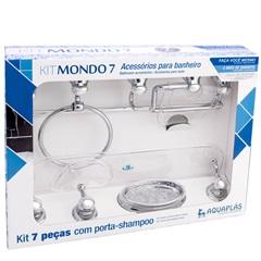 Acessórios para Banheiro Mondo 7 Peças Cristal/Cromado - Stamplas