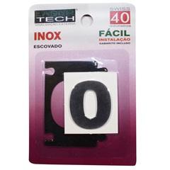 Algarismo Adesivo Número 0 Inox Escovado 4cm    - Display Show