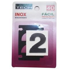 Algarismo Adesivo Número 2 em Inox Escovado 4cm - Display Show
