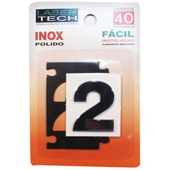 Algarismo Adesivo Número 2 em Inox Polido 4cm - Display Show