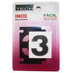 Algarismo Adesivo Número 3 em Inox Escovado 4 Cm - Display Show