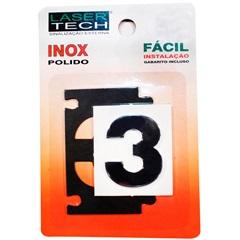 Algarismo Adesivo Número 3 em Inox Polido 4 Cm - Display Show