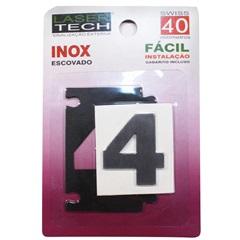 Algarismo Adesivo Número 4 em Inox Escovado 4 Cm - Display Show