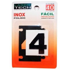 Algarismo Adesivo Número 4 em Inox Polido 4 Cm - Display Show
