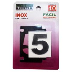 Algarismo Adesivo Número 5 em Inox Escovado 4 Cm - Display Show