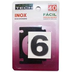 Algarismo Adesivo Número 6 em Inox Escovado 4cm - Display Show