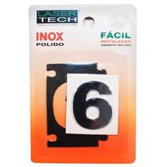 Algarismo Adesivo Número 6 em Inox Polido 4cm - Display Show
