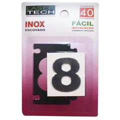 Algarismo Adesivo Número 8 em Inox Escovado 4 Cm - Display Show