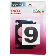 Algarismo Adesivo Número 9 em Inox Escovado 4cm - Display Show