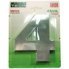 Algarismo Número 4 Inox Polido 15cm