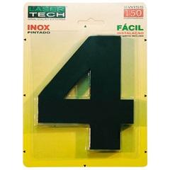 Algarismo Número 4 Inox Preto 15cm - Display Show