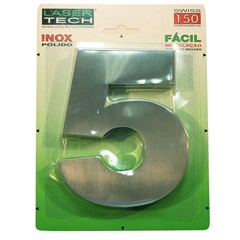 Algarismo Número 5 em Inox Polido 15cm - Display Show