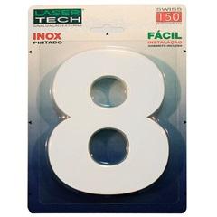 Algarismo Número 8 em Inox Branco 15cm - Display Show
