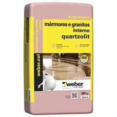 ARGAMASSA COLANTE PARA MÁRMORES E GRANITO INTERNO BRANCO 20KG 661466 Quartzolit