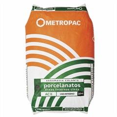 Argamassa Colante para Porcelanato Interno Cinza 20kg - Metropac