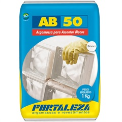 Argamassa para Bloco de Vidro Ab 50 Branca 1kg - Fortaleza