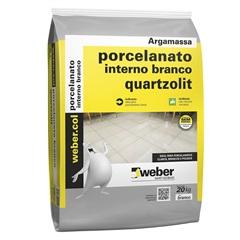 Argamassa para Porcelanato Interno Branco 20kg - Quartzolit