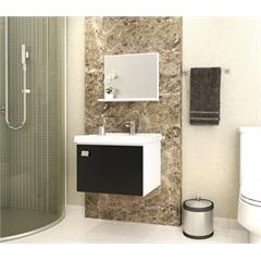 Armário de Banheiro Margarida Preto Kit - Cozimax