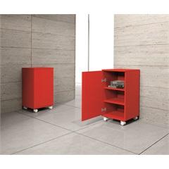 Armário Multiuso em Mdf com 1 Porta E Rodízios Londres 66,5x35cm Vermelho - Bonatto