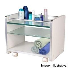 Armário para Banheiro Estilo Carrinho Branco 200 - Cris Metal