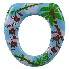 Assento Sanitário Almofadado Oval Infantil Macaco - Astra