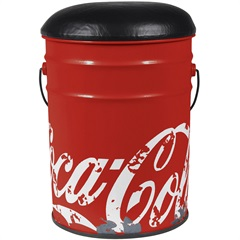 Banqueta Balde Coca-Cola Vermelha - Urban