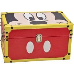 Baú em Mdf Retangular Mickey Parts 18x32cm Vermelho - Importado