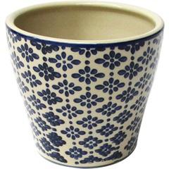 Cachepot em Cerâmica Oval do0011 Azul E Bege