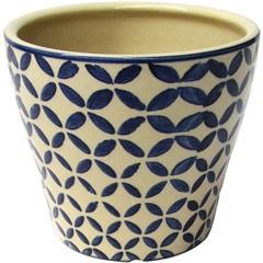 Cachepot em Cerâmica Oval do0013 Azul E Bege