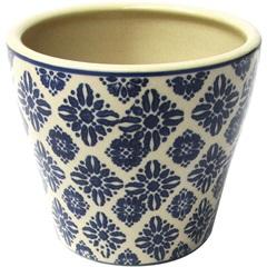 Cachepot em Cerâmica Oval do0014 Azul E Bege