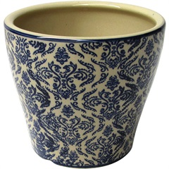 Cachepot em Cerâmica Oval do0016 Azul E Bege