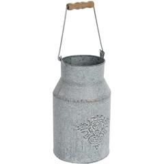 Cachepot Leiteira 12x22cm Cinza - Decor Glass