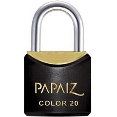 Cadeado Latão Color Line Preto Cr 20  - Papaiz