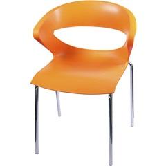 Cadeira em Polipropileno Beth Laranja E Cromada - Importado