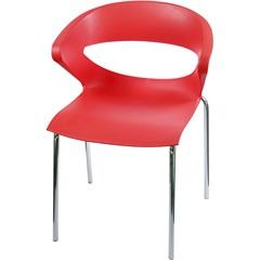 Cadeira em Polipropileno Beth Vermelha E Cromada - Importado