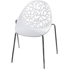Cadeira em Polipropileno Helena Branca E Cromada - Importado