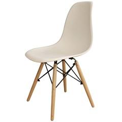 Cadeira Plástica com Pé Madeira Branco - Importado