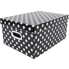 Caixa Closet Grande Max Poa Preto 20x30,5cm  - Boxgraphia