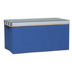 Caixa Organizadora Azul Listrada em Poliéster - Homz