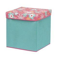 Caixa Organizadora Azul Turqueza com Tampa Floral - Homz